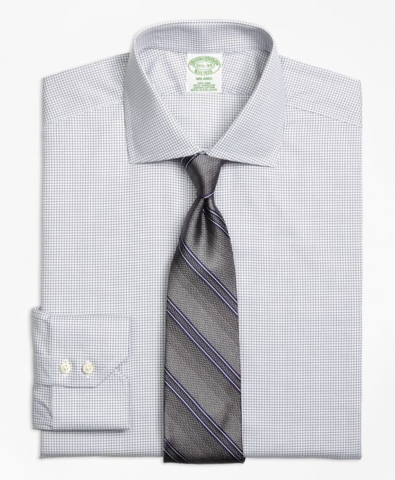 Milano Slim-Fit Dress Shirt, Non-Iron Micro Check Grey