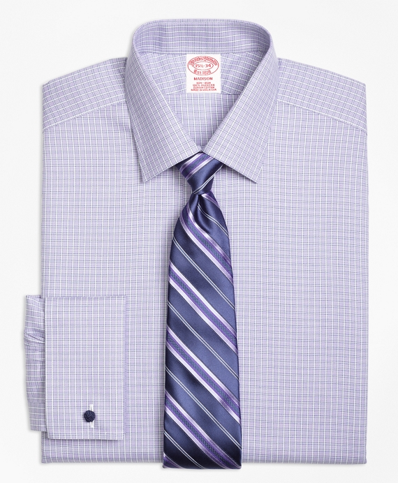 Madison Classic-Fit Dress Shirt, Non-Iron French Cuff Double Windowpane Purple