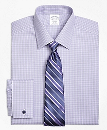 Non-Iron Regent Fit Double Windowpane French Cuff Dress Shirt