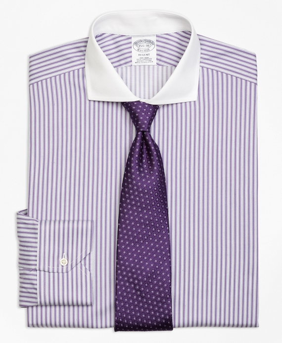 Non-Iron Regent Fit Bold Stripe Dress Shirt Purple