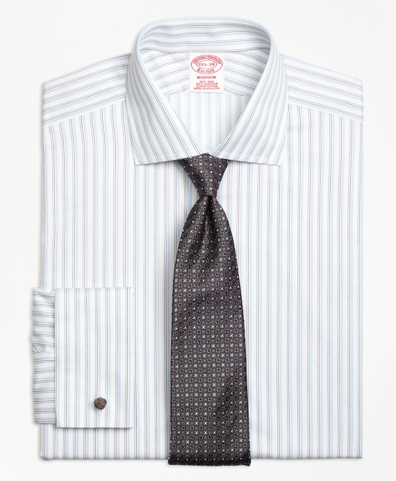 Non-Iron Madison Fit Sidewheeler Stripe French Cuff Dress Shirt