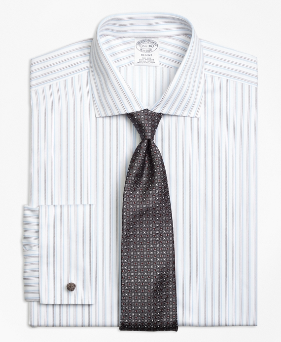 Regent Fitted Dress Shirt, Non-Iron French Cuff Sidewheeler Stripe