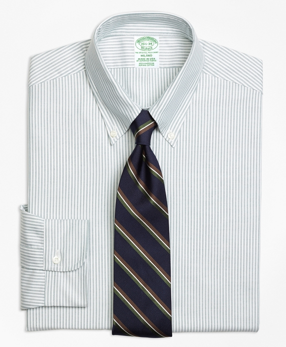 Milano Fit Original Polo® Button-Down Oxford Stripe Dress Shirt Green