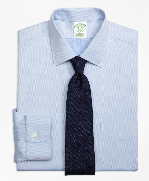 Non-Iron Milano Fit Diamond Dobby Dress Shirt Blue