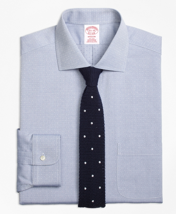 Madison Classic-Fit Dress Shirt, Non-Iron English Collar Dobby Blue