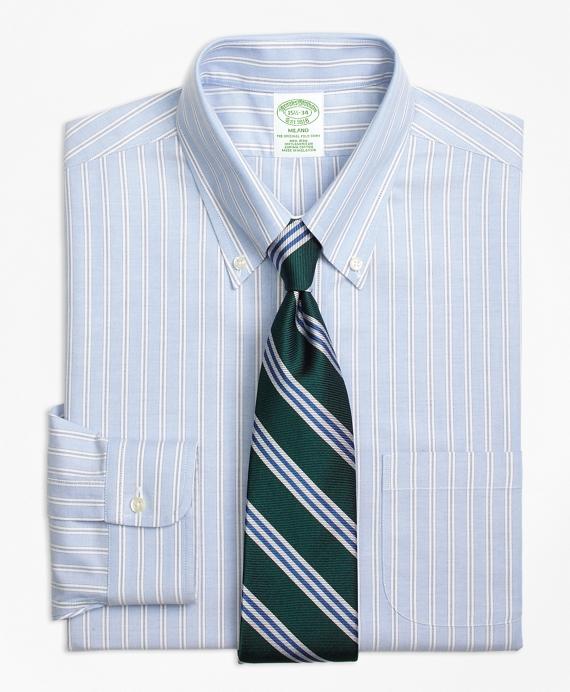 Milano Slim-Fit Dress Shirt, Non-Iron Split Stripe Blue