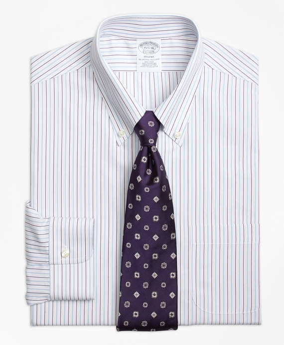 Regent Fitted Dress Shirt, Non-Iron End-on-End Stripe Purple