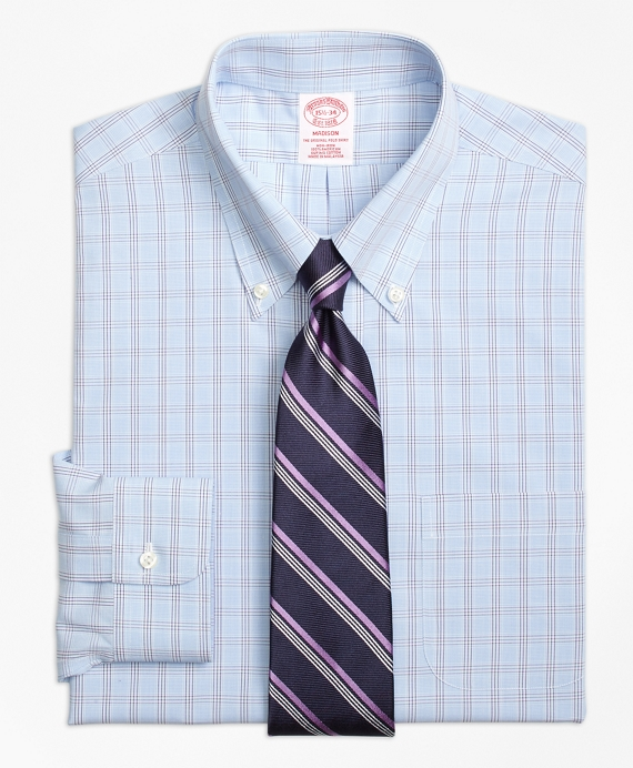 Madison Classic-Fit Dress Shirt, Non-Iron Houndstooth Triple Overcheck Light Blue