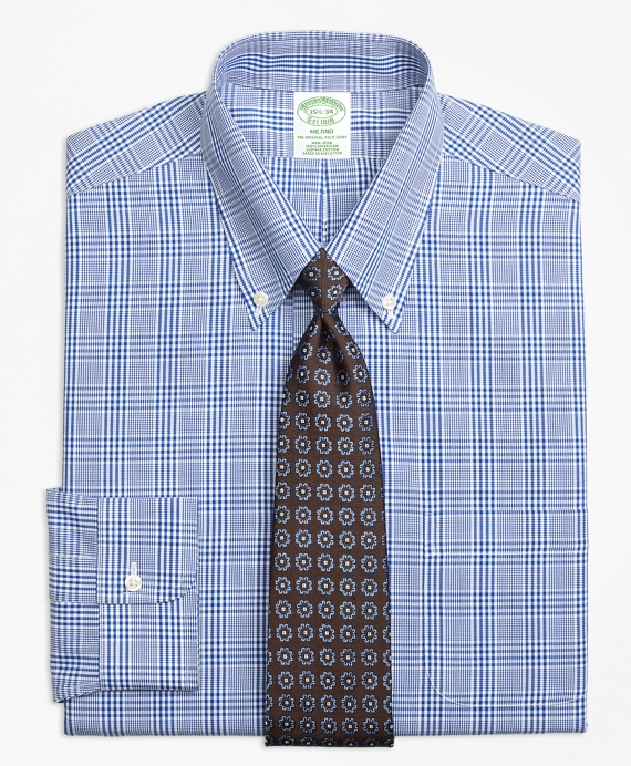 Milano Slim-Fit Dress Shirt, Non-Iron Glen Plaid Blue