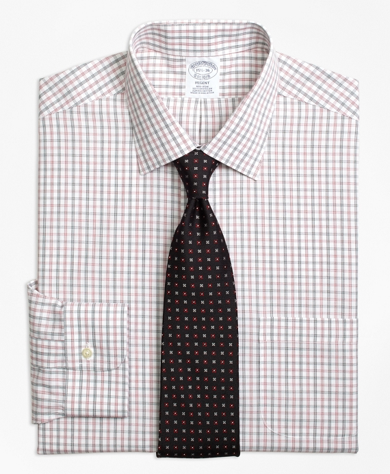Regent Fitted Dress Shirt, Non-Iron Triple Shadow Check Red