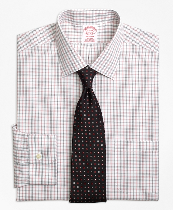 Madison Classic-Fit Dress Shirt, Non-Iron Triple Shadow Check Red
