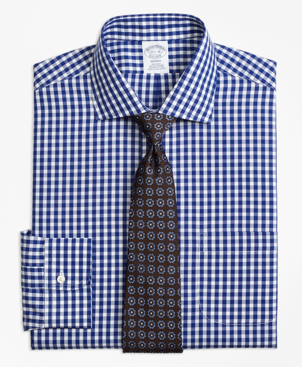 Non-Iron Regent Fit Gingham Dress Shirt - Brooks Brothers