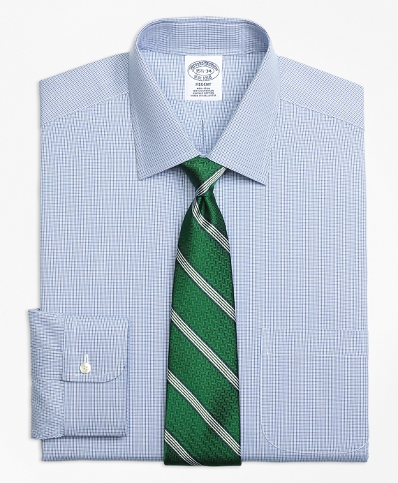 Regent Fitted Dress Shirt, Non-Iron Two-Tone Houndstooth Blue