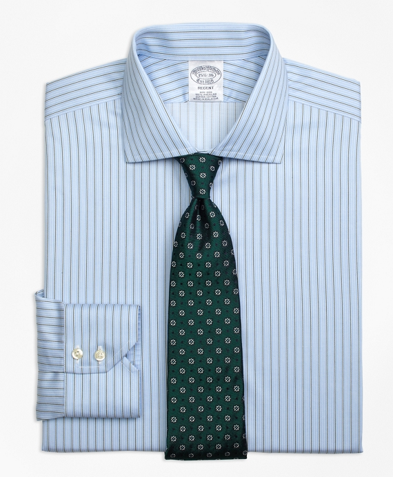 Regent Fitted Dress Shirt, Non-Iron Pencil Stripe Green