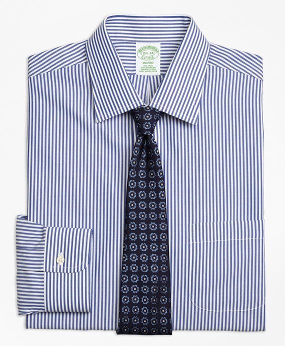 Milano Slim-Fit Dress Shirt, Non-Iron Bengal Stripe Blue