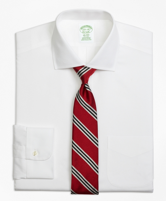 Milano Slim-Fit Dress Shirt, Non-Iron Spread Collar White