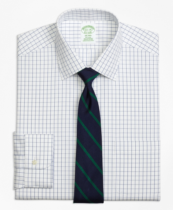 Milano Slim-Fit Dress Shirt, Non-Iron Windowpane