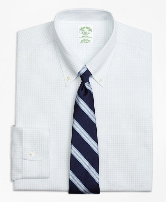 Milano Slim-Fit Dress Shirt, Non-Iron Graph Check Light Blue