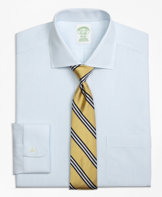 Milano Slim-Fit Dress Shirt, Non-Iron Mini Pinstripe Light Blue