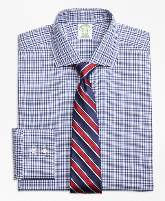 Milano Slim-Fit Dress Shirt, Non-Iron Glen Plaid Dark Blue