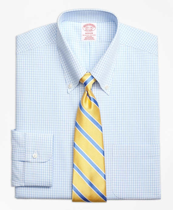 Madison Classic-Fit Dress Shirt, Non-Iron Dobby Gingham