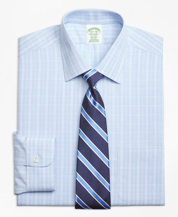 Milano Slim-Fit Dress Shirt, Non-Iron Overcheck