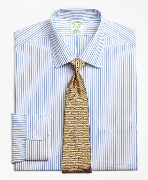 Milano Slim-Fit Dress Shirt, Non-Iron Alternating Framed Stripe