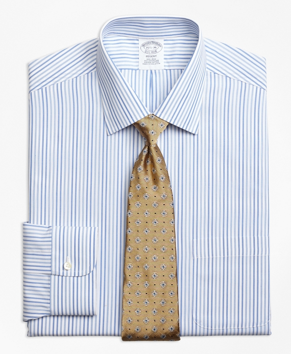 Regent Fitted Dress Shirt, Non-Iron Alternating Framed Stripe Blue
