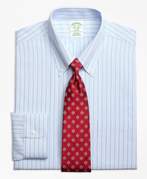 Milano Slim-Fit Dress Shirt, Non-Iron Twin Hairline Stripe