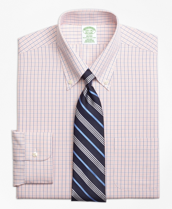 Milano Slim-Fit Dress Shirt, Non-Iron Micro-Tattersall