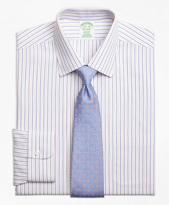 Non-Iron Milano Fit End-on-End Alternating Stripe Dress Shirt