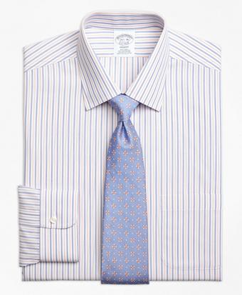 Non-Iron Regent Fit End-on-End Alternating Stripe Dress Shirt