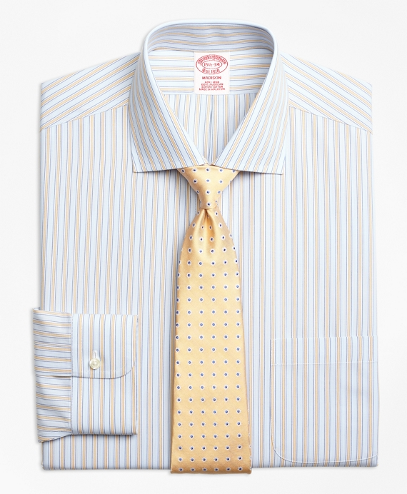 Madison Classic-Fit Dress Shirt, Non-Iron Framed Track Stripe Yellow
