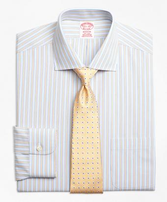 Non-Iron Madison Fit Framed Track Stripe Dress Shirts