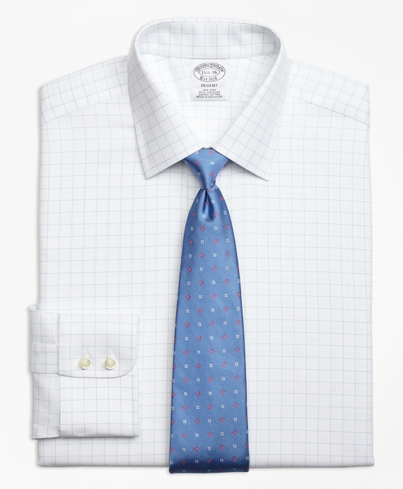 Non-Iron Regent Fit Royal Oxford Windowpane Dress Shirt