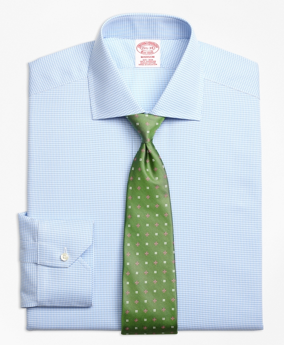 Madison Classic-Fit Dress Shirt, Non-Iron Royal Oxford Houndstooth