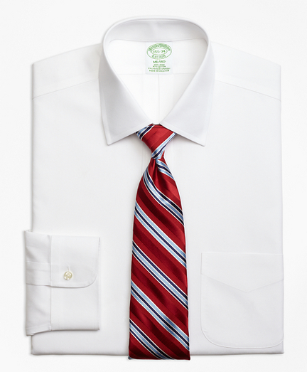 Stretch Milano Slim-Fit Dress Shirt, Non-Iron Spread Collar