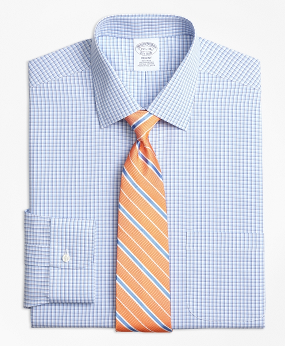 Regent Fitted Dress Shirt, Non-Iron Tonal Sidewheeler Check Blue