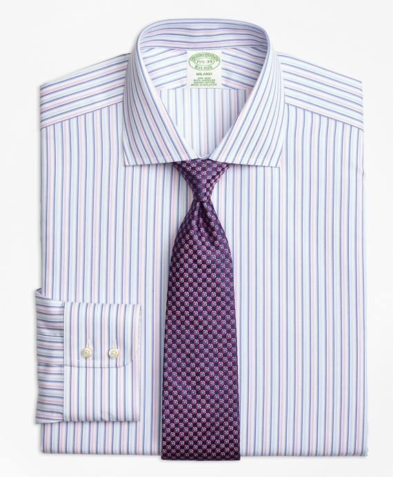 Milano Slim-Fit Dress Shirt, Non-Iron Alternating Twin Stripe Pink