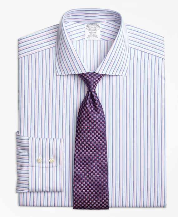Non-Iron Regent Fit Alternating Twin Stripe Dress Shirt