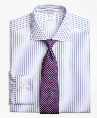 Non-Iron Regent Fit Alternating Twin Stripe Dress Shirt