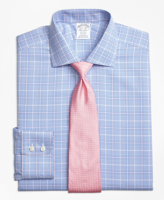 Regent Fitted Dress Shirt, Non-Iron Glen Plaid Blue-Pink