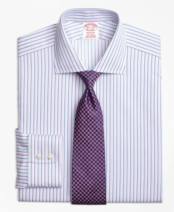 Madison Classic-Fit Dress Shirt, Non-Iron Alternating Twin Stripe Pink-Blue