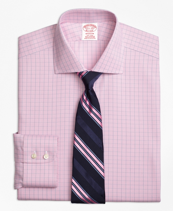 Madison Classic-Fit Dress Shirt, Non-Iron Windowpane Pink