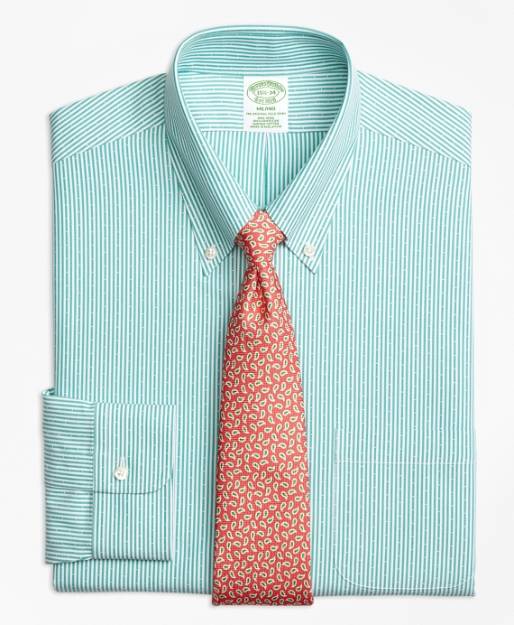 Milano Slim-Fit Dress Shirt, Non-Iron Dobby Candy Stripe Green