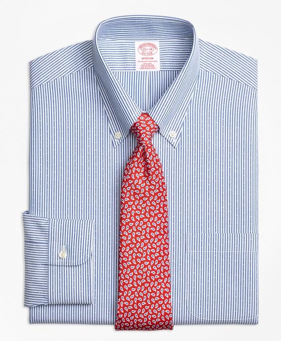 Madison Classic-Fit Dress Shirt, Non-Iron Dobby Candy Stripe Navy