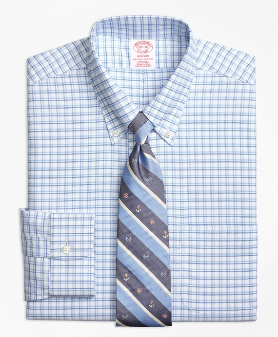 BrooksCool® Madison Classic-Fit Dress Shirt, Non-Iron Framed Shadow Check Blue