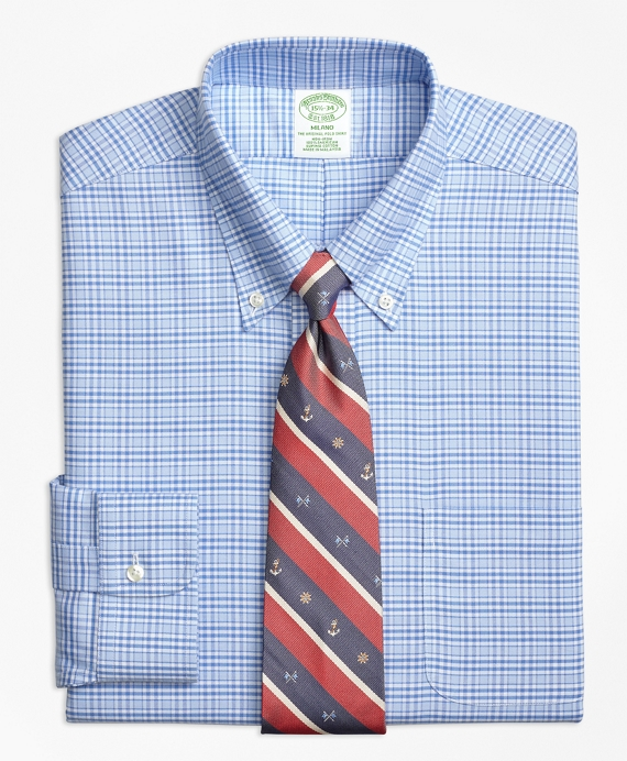 BrooksCool® Milano Slim-Fit Dress Shirt, Non-Iron Glen Plaid