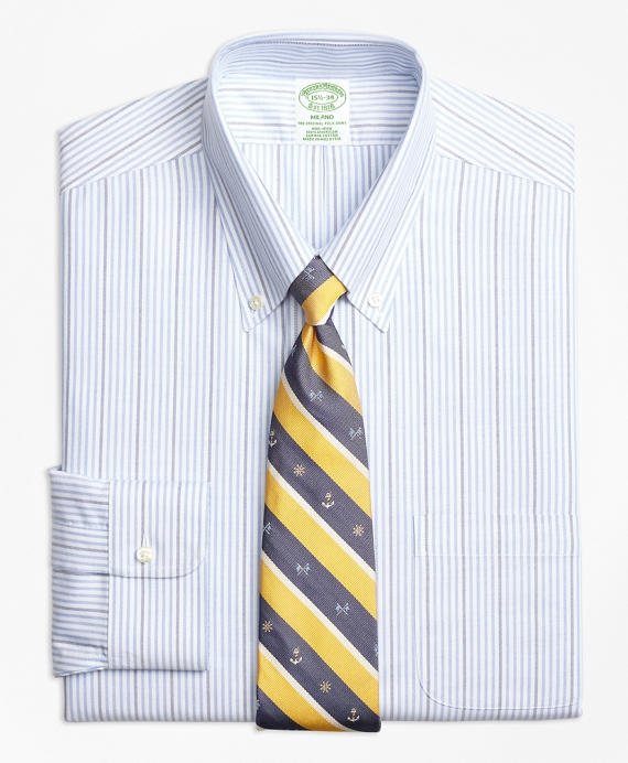 BrooksCool® Milano Slim-Fit Dress Shirt, Non-Iron Candy Stripe