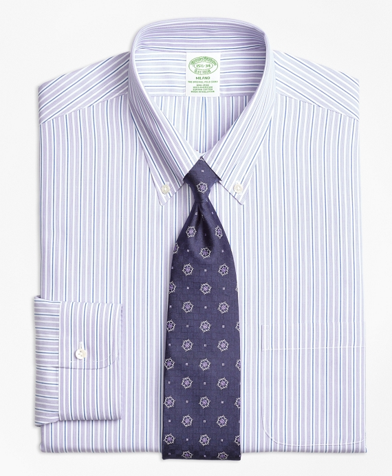 Non-Iron Milano Fit Double Stripe Dress Shirt Purple